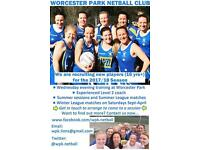 Worcester Park Lions Netball invite you to train with is in May