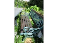 Cast Iron Garden Bench and 2 large chairs