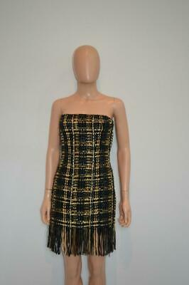 Balmain Black/Gold Chain/Leather Woven Strapless Bustier Mini Dress F 36/US 4 Chain Bustier Dress