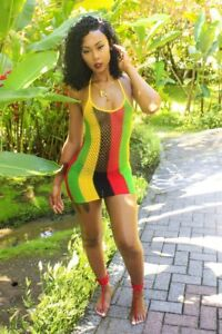 Jamaican Rasta Colour, Reggae, Fish Mesh Hollow Out Micro Mini Dress, ....