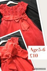 Girls party dress 5-6y