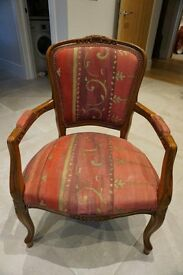 Louis XV Chair in Designers Guild red / gold fabric