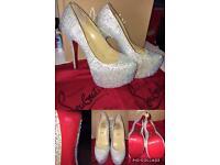 Women silver sparkle CL Louboutin Shoes U.K. 3