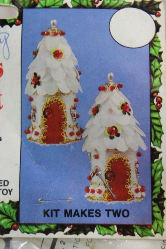 Vintage Walco Beaded Christmas Ornament Kit CANDY HOUSE Holiday Craft Village