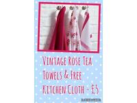 Vintage Rose Tea Towels & Free Kitchen Cloth