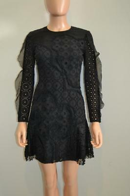 Huishan Zhang Black Eyelet Floral Lace Silk Long Sleeve Dress Size UK 8/US 4