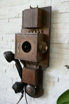 Bakelit Wand (Altes antikes Wandtelefon, Telefon, Holz, Bakelit Hörer, um 1900)