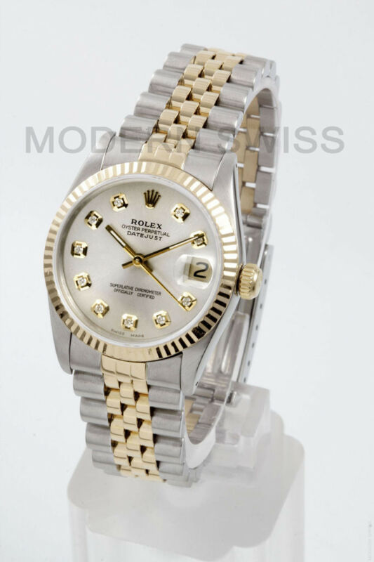 Rolex Ladies Midsize Datejust 18k Gold & Steel W Silver Diamond Jubilee Quickset