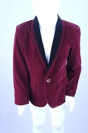 kids soft VELVET slim fit wine blazer with black trim with 1 button and 2 POCKET