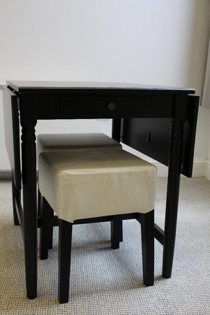 Small Ikea Drop Leaf Dining Table And Two Stools Dark