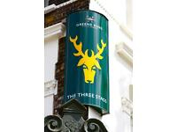 EXPERIENCED BAR/FLOOR STAFF WANTED FOR BUSY GASTRO PUB. THE THREE STAGS 69 KENNINGTON RD SE1 7PZ