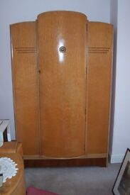 Retro bedroom furniture set 2 w.robes +matching dressing table, light colour solid wood, g condition