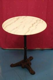 Marble and Cast Iron Bistro Table. Ideal for patio or balcony. Very good condition.