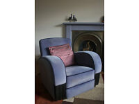 Art Deco Sofa and two matching armchairs, compact in size, reupholstered in RAF blue-grey