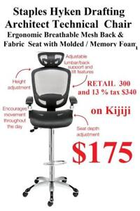NEW Extended Height Drafting Architect Chair Mesh Back Adjustable Head Arms rest Memory Seat Foam