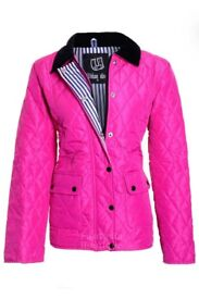 New Ladies Fuchsia Quilted Padded Button Zip Jacket Size XL/16-18