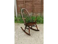 Vintage Dark Ercol Quaker Kitchen Dining Rocking Armchair Arm Chair
