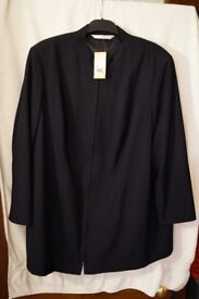 LADIES MARKS & SPENCER BRAND NEW LONG NAVY ZIP FRONT JACKET-FAB QUALITY FULLY LINED SIZE 24 FAB £10