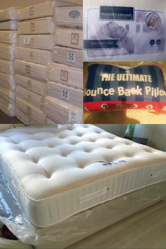 Half Price 2000 Pocket Deluxe Kingsize Double Mattresses Hotel Quality Free Delivery Pillows
