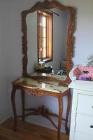 Antique  2 piece Marble Wood Dressing Table Vanity Large mirror