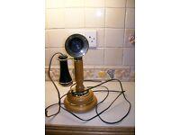 wood &brass candlestick telephone