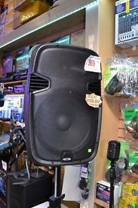 """Acoustic Audio 15"""" 1000 Watt Portable PA Speaker System w/2 VHF Wireless Microphones AC and DC Battery"""