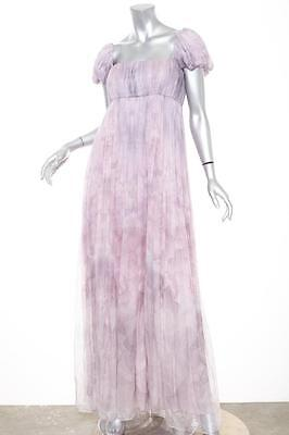 ALEXANDER McQUEEN $8K Womens Lilac Floral Silk Chiffon Gown Dress 40/8 NEW