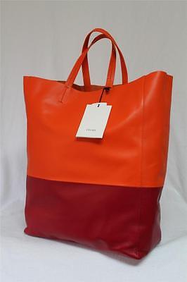 New $1770 Celine Orange Magenta Cabas Vertical Two Tone Luggage Leather Tote Bag