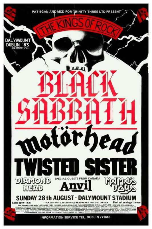 Black Sabbath - POSTER - Live DUBLIN 1983 Motorhead Anvil Twisted Sister METAL