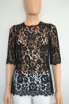 Dolce & Gabbana Black Floral Lace Short Sleeve Blouse/Top Size 38/US 2