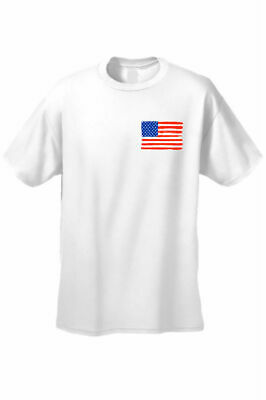 - USA Flag T Shirt Men's American Pride Short Sleeve Tee WHITE