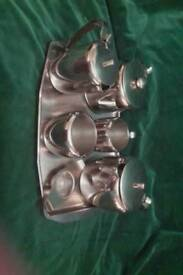 Stainless steel tea set. If you can see it is still available.