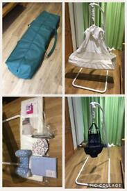 Amby hammock, 2 mattresses, new sheets, sleep position, bounce chair, heavy duty carry bag.