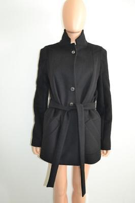 Chloe Black Wool Front Tie/Belt Jacket/Coat, Size F 42/US 10 Wool Belt Tie Coat Jacket