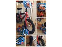 """Spider man 14"""" bike & helmet"""