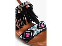 Fringe Black Sandals - Size 4