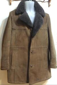 44 Mens L LONDON FOG Sheepskin & Suede Car Coat Winter Warm Brown Large Vintage Retro Made in Canada Windproof