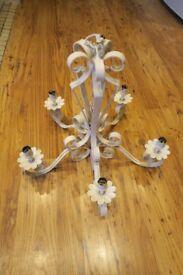 White cream chandelier ceiling light 5 way