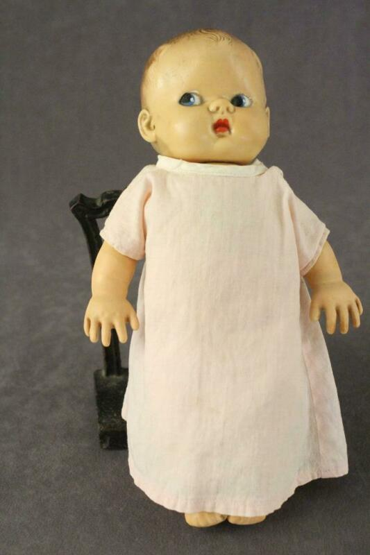 "Vintage Toy Arrow Rubber Soft Skin Baby Doll 9"" Tall Blue Side Eye"