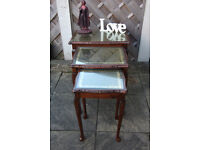 VINTAGE FRENCH STYLE GLASS TOP NEST OF TABLES