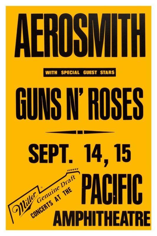 Aerosmith - POSTER  - LIVE CONCERT -  Guns n Roses - Joe Perry Steven Tyler