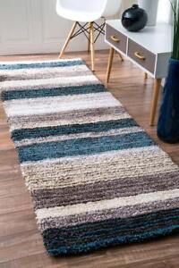 NEW nuLOOM Handmade Striped Shaggy Blue Multi Runner Area