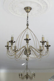 Antique Gold 8 Bulb Chandelier and Matching Wall Light