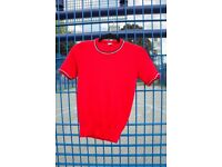 Vintage 60s Iconic bright red retro shirt top / Size S