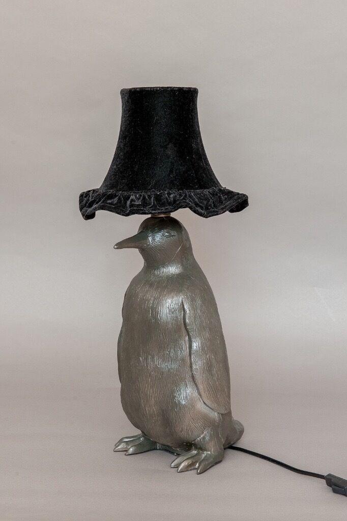 Abigail Ahern Designer Penguin Lamp, Metallic Penguin Lamp With Original  Black Velvet Shade.