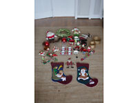 Christmas decorations Job Lot including reef / stockings / tablewear / tree decorations