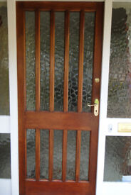 Oak front door - partly glazed 1975mm x 835mm x 45mm with brass door furniture and locks