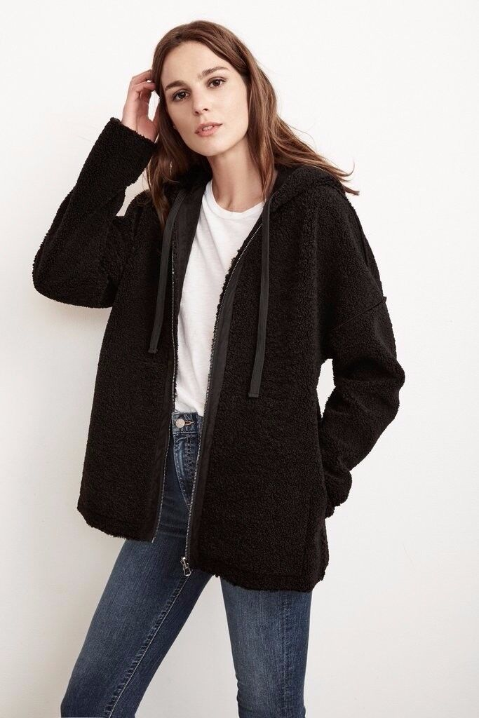 Reversible lux faux sherpa hoodie in Black (XS)- velvet by graham and spencer