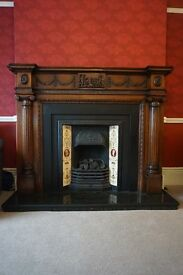 Victorian Reproduction Mahogany and Cast Iron Fireplace