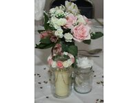 Wedding decoration table centerpieces glass jars lace pink